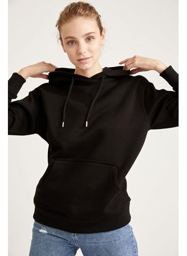 DeFacto Kapüşonlu Regular Fit Sweatshirt Siyah